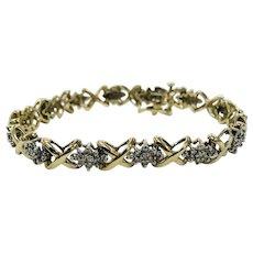 Vintage 10K Yellow Gold X's and O's Diamond Bracelet