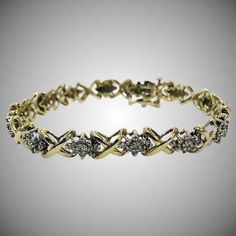 Vintage 10K Yellow Gold X's and O's Diamond Bracelet