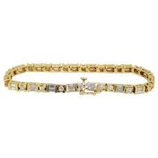 3.25ctw Vintage 18k Yellow Gold Round & Baguette Diamond Ladies Tennis Bracelet