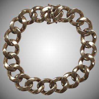Heavy Men's Curb Link Bracelet in 14K Yellow Gold