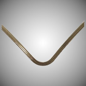 14K Yellow Gold Fancy Necklace with Flat Links
