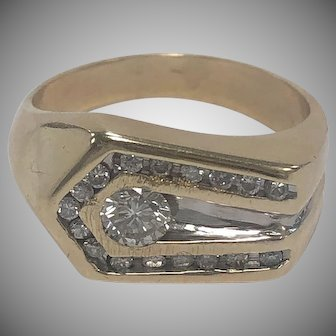 14K Yellow Gold Men's Diamond Ring With Accent Diamonds