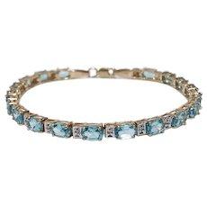 Vintage Blue Topaz and Diamond Line Bracelet 10K Yellow Gold