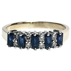 Vintage Sapphire & Diamond Band in 14K Yellow & White Gold