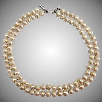 Double Strand of Knotted Cultured Pearls with Sterling Silver Clasp