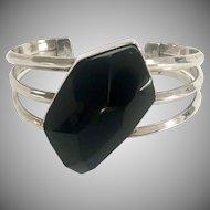 Large Black Fancy Cut Onyx in Sterling Silver Cuff Bracelet
