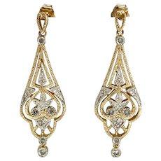 Vintage Diamond Dangle Earrings in 14K Yellow & White Gold with Filigree & Milgrain