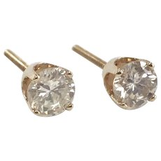 4 prong 3/4ctw Diamond Solitaire Stud Earrings in 14K Yellow Gold with Screw Back