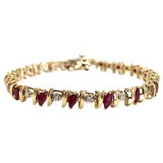 Vintage Ruby & Diamond Line bracelet in 14K Yellow Gold