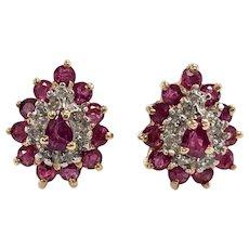Vintage Ruby & Diamond Cluster Stud Earrings in 14K Yellow Gold