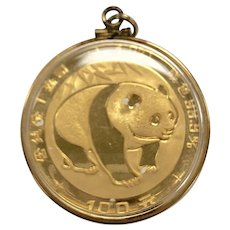 1oz Fine Yellow Gold 100 Yuan 1983 Chinese Panda Coin Pendant
