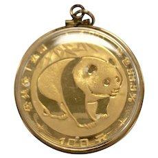 1oz Fine Yellow Gold 100 Yuan 1983 Chinese Panda Coin Pendant