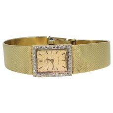 Vintage 14k Yellow Gold Omega with Diamonds and Sapphire Crown Ladies Watch