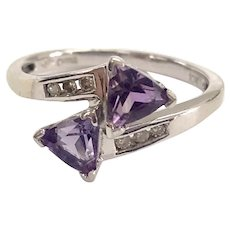 Amethyst & Diamond 2 Stone Bypass Ring in 10K White Gold