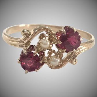 Vintage Red Stone & Seed Pearl Ring in Yellow Gold