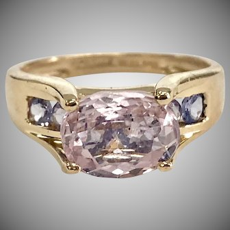 Oval Morganite East-West Ring with Purple Accent Stones in 14K Yellow Gold