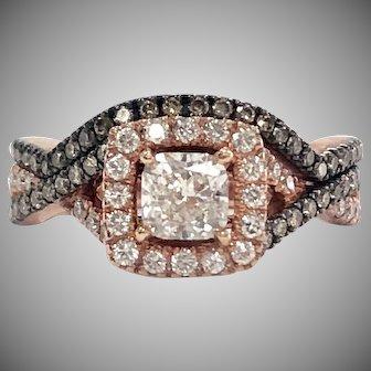 14K Rose .75ct Cushion Diamond with Halo and Chocolate Diamond Accent Wedding  Ring Set