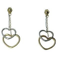 Double Heart Dangle Earrings - 14k Yellow & White Gold