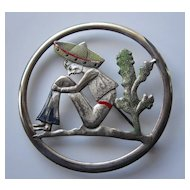 1940s Sterling Silver Craft Coro Mexican Man Pin - Cold Painted