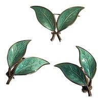 Vintage David Andersen Sterling Aqua Green Enamel Double Leaf Pin and Earrings