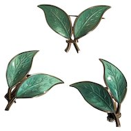 Vintage David Andersen Sterling Aqua Green Enamel Double Leaf Pin and Earrings