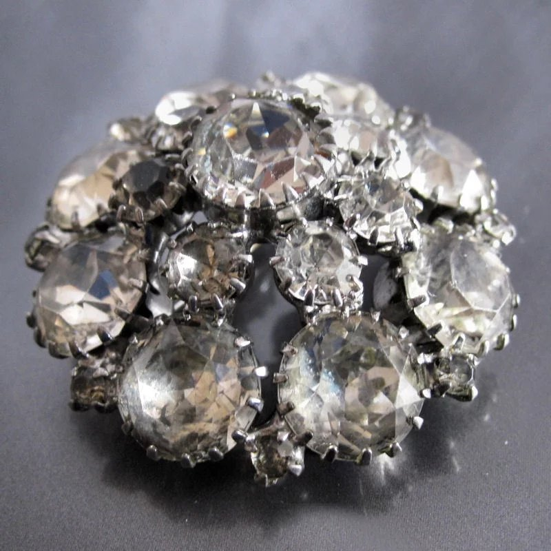 Vintage Weiss Clear Stones Circular Domed Brooch Miss