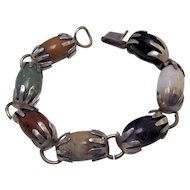 Mexican Taxco Multi Gemstone Sterling Silver Hands Bracelet