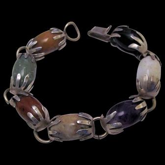 Mexican Taxco Multi Gemstone Sterling Silver Hands Bracelet