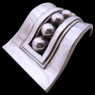 Margot De Taxco Modernist Sterling Silver Beaded Brooch