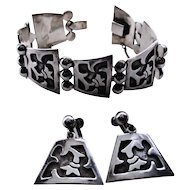Early Bernice Goodspeed Sterling Silver Bracelet and Earrings Set Taxco Mexico
