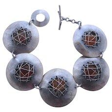 Modernist Saucer Shape Sterling Silver Amber Bracelet