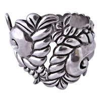 Antonio Reina Taxco Mexican Sterling Silver Clamper Bracelet
