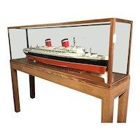Model of SS United States ocean liner.