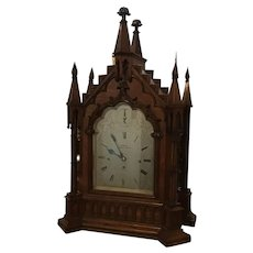 English 19th century Gothic Revival Bracket clock.