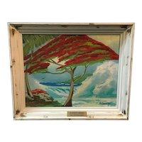 A Poinciana tree fighting the waves, by HOF artist Highwayman Rodney Demps 1953-2020.