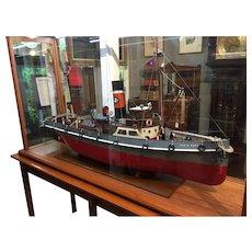 Hand built Tugboat scale model circa 1960.