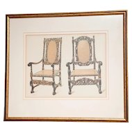 A set of 2 Color lithographs of  English Jacobean period Armchairs and a single Armchair.