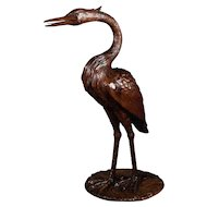 A 19th century Swiss Black Forest carving of a Stork, the carving is life-size.