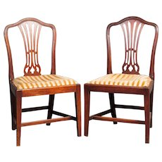 A Pair of Good Antique walnut side chairs.