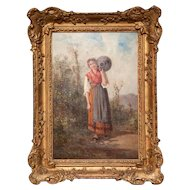 A charming 19th century oil painting of a young girl carrying a water pitcher.