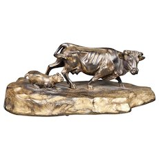 A most interesting19th century bronze of a cow and a dog.