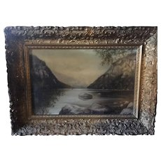 Late 19th century early 20th Oil painting of a Steam Yacht or a Steam Boat.