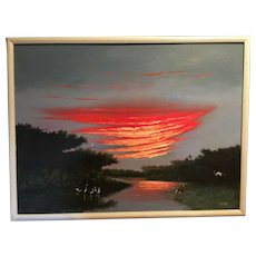 A large  sofa size Florida Highwaymen painting by Johnny Daniels 1954 - 2009