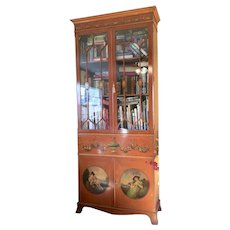 A Painted Satinwood Bookcase with Secretaire Desk