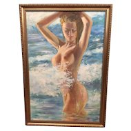 Signed oil on board of nude blonde