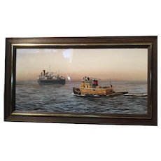An oil and acrylic  painting of a Tug Boat.