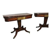 A very good pair of English Regency Mahogany Games Tables.