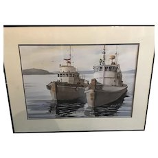 Watercolor painting of a pair of tugboats. By Bill Dozer.