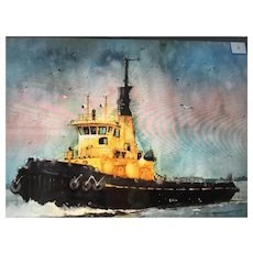 Watercolor painting of a tugboat