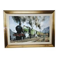 "G.W.R. painting of a ""Double Header"". The lead steam locomotive being Albert Hall # 4983."